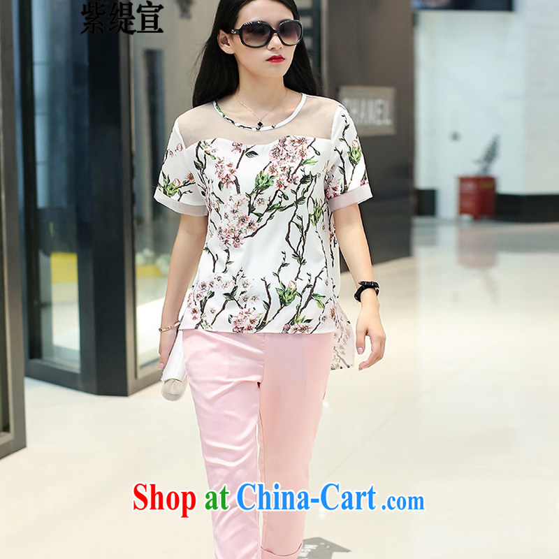 first economy in Europe and declared the code female summer new stylish two-piece thick mm stamp T shirts Houston T-shirt + 9 pants 1787 _3 XL 150 - 160 Jack left and right