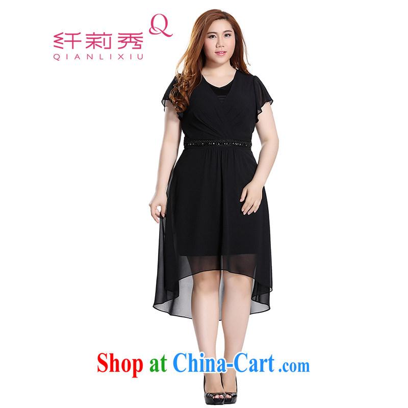 Slim LI Sau 2015 summer new, larger female elegant small dress rules are not small dress dresses Q 7829 black 3 XL