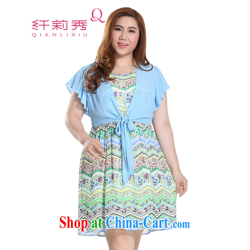 Slim LI Sau 2015 summer new, larger female stylish geometric stamp leave two flouncing cuff dress Q 7871 blue 3 XL