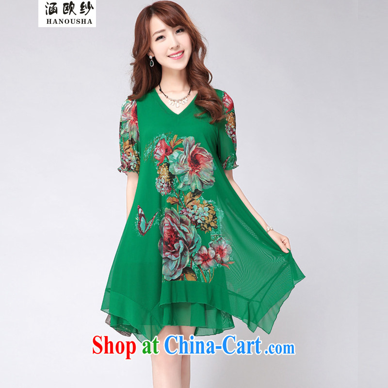covered by the new summer, and indeed increase, female dress thick mmV collar graphics thin stamp dress code the elastic Web dress green XXXXL