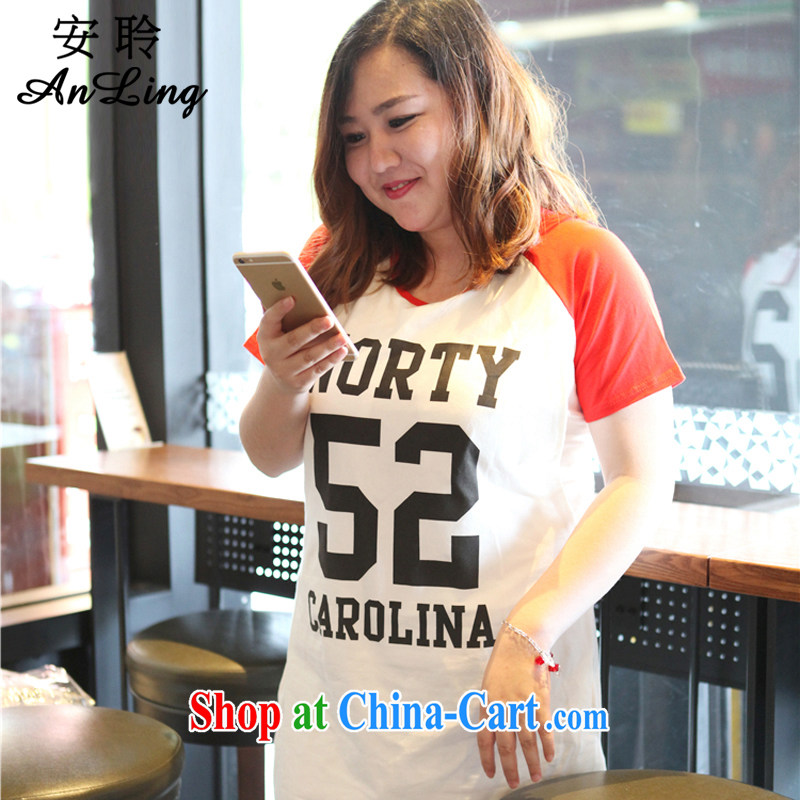 Hearing the 2015 spring and summer new ultra-large, female Korean video thin thick mm increase short-sleeved T-shirt College wind fashion, long T pension white are code