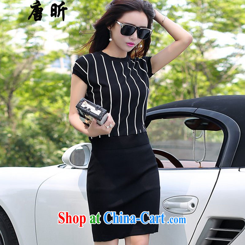 Tang year larger female stylish package loose video thin summer new streaks round-collar T shirt + the forklift truck further body skirt T shirt + body skirt_1973 2 XL 135 - 145 Jack left and right