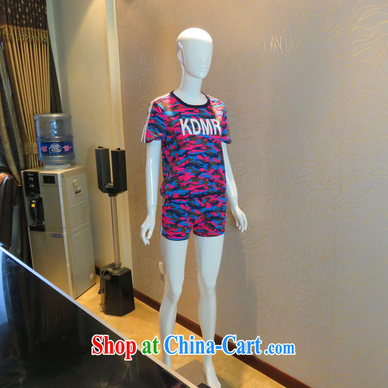 The sheep Yi Library summer 2015 new large code female female kit, clothing and ultra-soft short-sleeved comfort women fashion Kit trousers 2299 small change, the red XXXXL