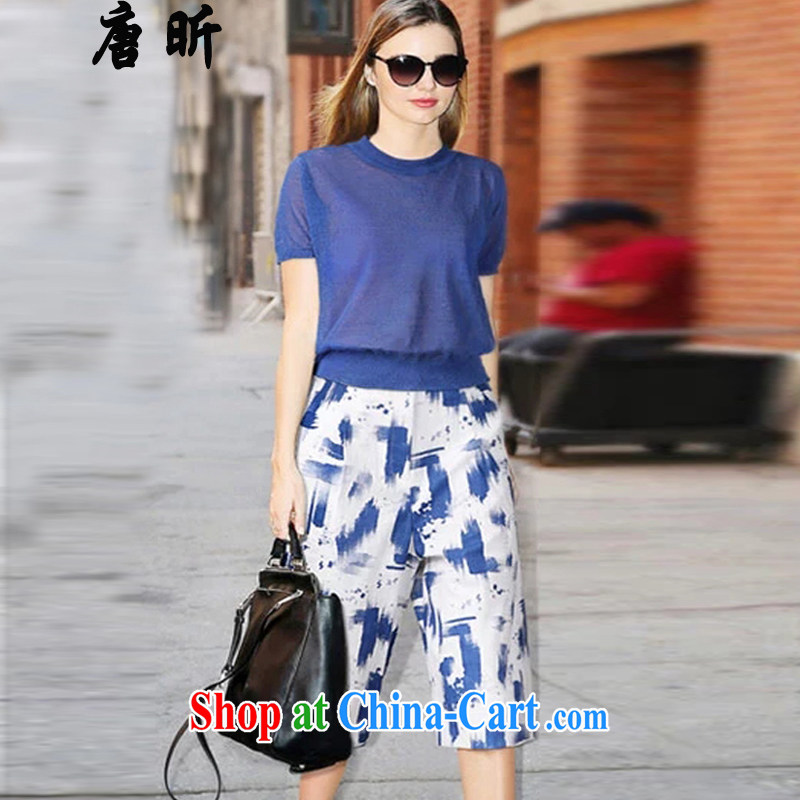 Tang year summer fashion in Europe and the Code female Two-piece thick MM linen cotton knit T shirt + width and 7 pants blue 1983 XL 5 180 - 195 Jack left and right