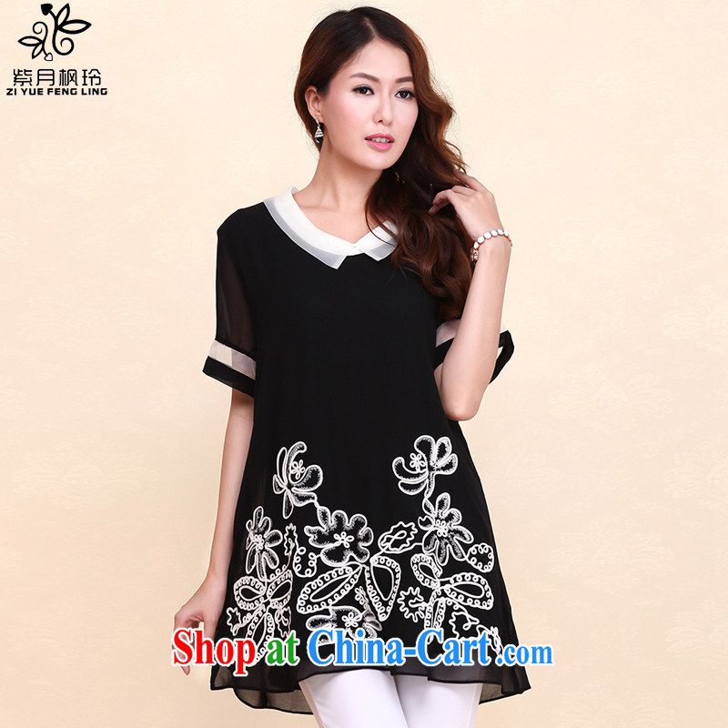 First and foremost, Feng-ling summer 2015 new short-sleeved snow-woven large code female female 567 black XXXL