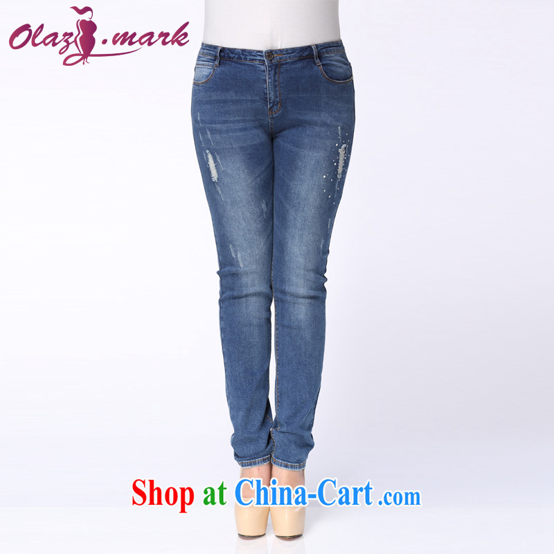 The Erez mark 2015 summer new large code girls denim jeans thick mm video thin trousers and indeed increase 4045 blue 34 code (recommended waist 86 cm left and right)