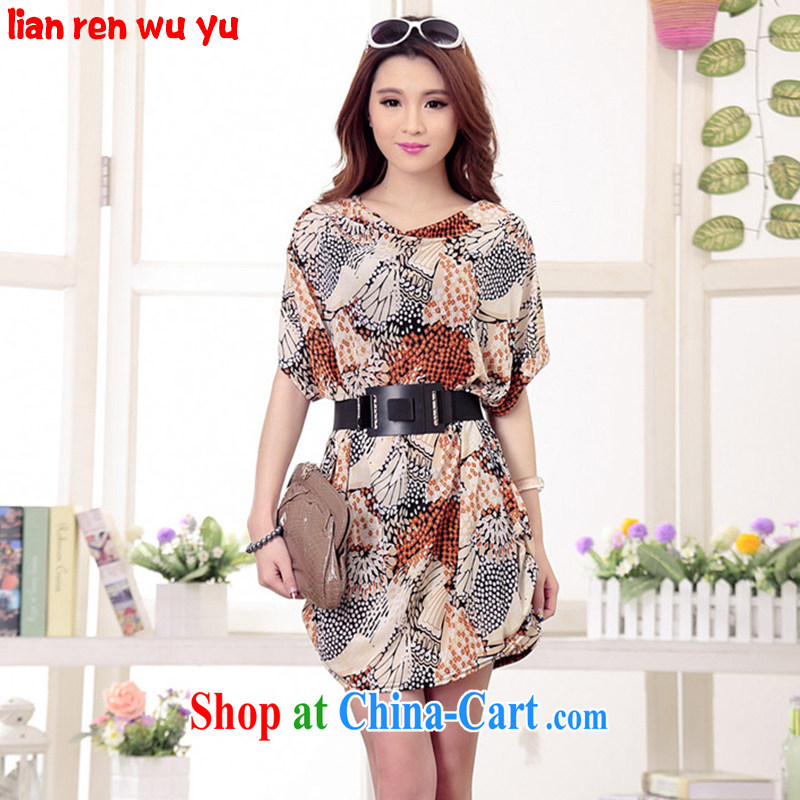 2015 LRWY new summer wear thick MM graphics thin XL ultra-liberal bat sleeves dress girl, older fat people clothes larger maternity dress suit (the belt) code - for 100 jack - 200 catties MM