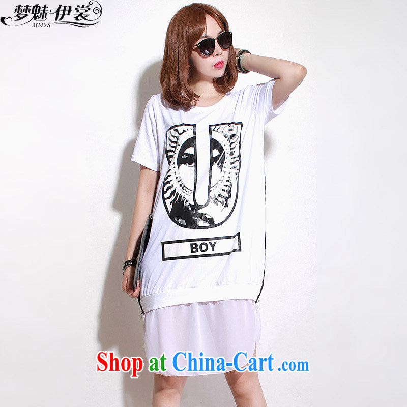 Director of the Advisory Committee 2015 summer new, indeed the XL women mm thick, long, short-sleeved T-shirt stitching woven snow-white skirt loose all code