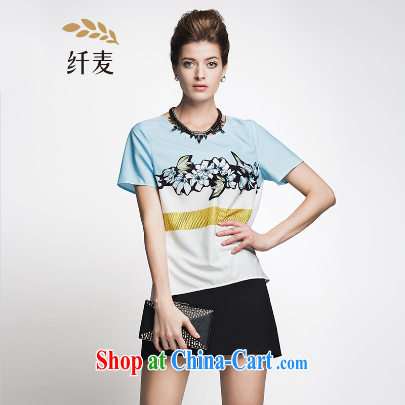 Former Yugoslavia, Mr Big, female 2015 summer new thick mm stylish color block stitching style t-shirt 952362392 2 suit XL