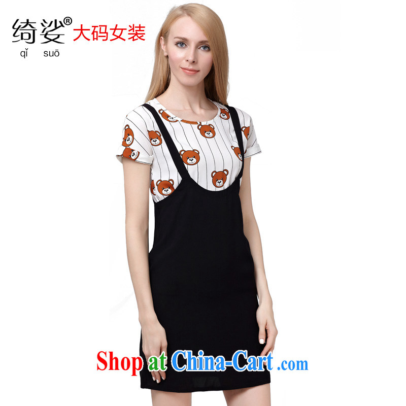 cheer for the 2015 code female thick MM summer new sweet Cubs stamp graphics thin short-sleeve 2-Piece skirt 2826 black 5 XL