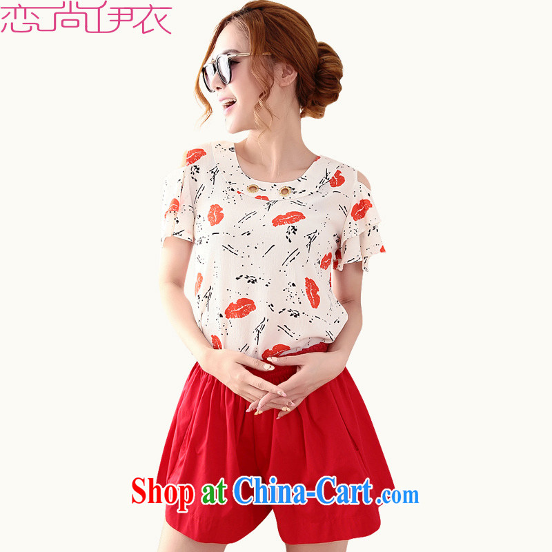 The package mail and indeed XL package sweater 2015 new Snow woven shirts red lips stamp your shoulders T-shirt red shorts Elasticated waist hot pants video thin red 3XL approximately 155 - 170 jack