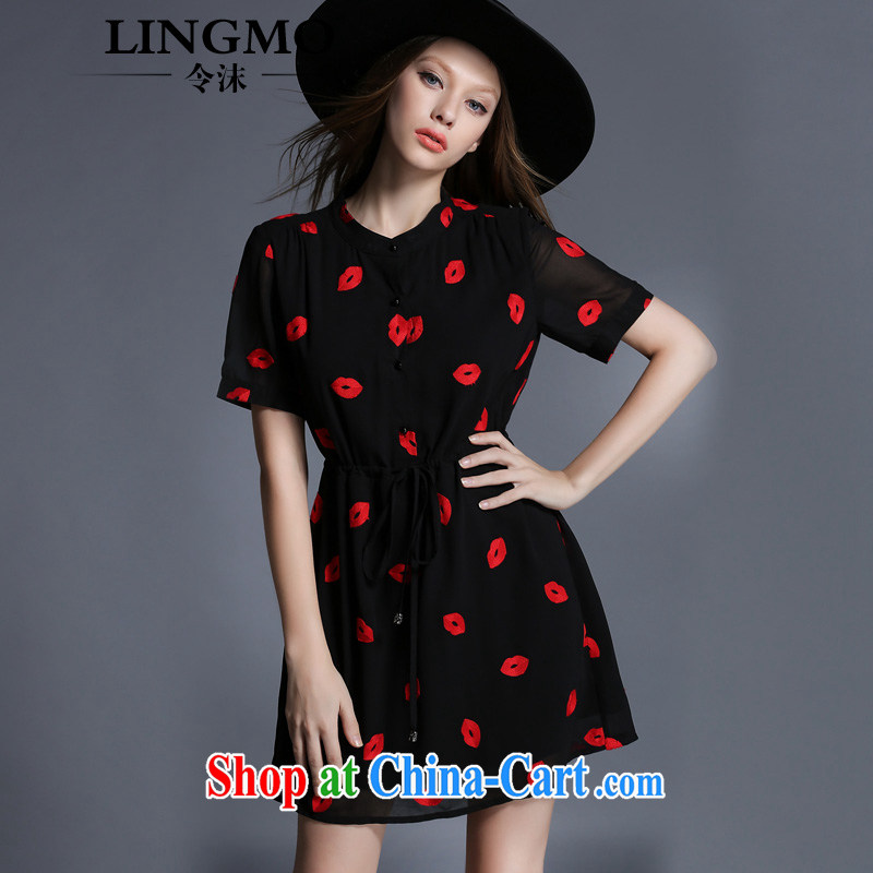 The bubbles dress Female European site summer added fat increases, female fat MM red lips embroidered a waist snow woven dresses black 3 XL recommendations 146 - 160 jack