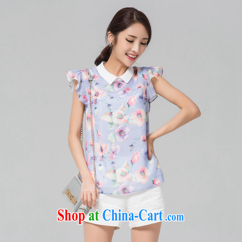 Blue Water XL girls thick MM 2015 summer new sweet stamp flouncing cuff roll collar short-sleeved snow woven shirts suits the code 2 XL