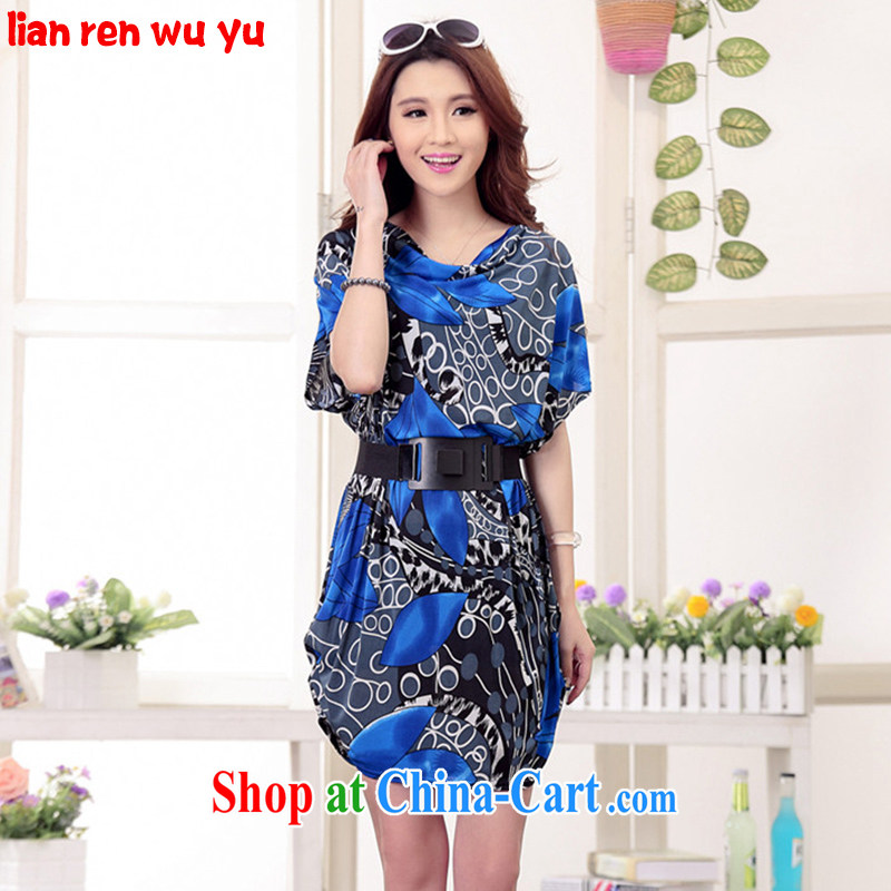 LRWY summer 2015 New Leaves stamp out loose in the elderly is increasing, women with short-sleeved dresses MOM fat people clothes blue (the belt) are codes - For 100 jack - 200 catties of MM