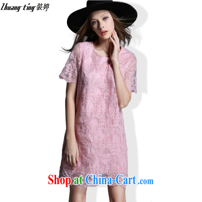 The Ting zhuangting fat people graphics thin 2015 summer new European and American large code female lace stamp short-sleeved dress 1906 picture color XXL