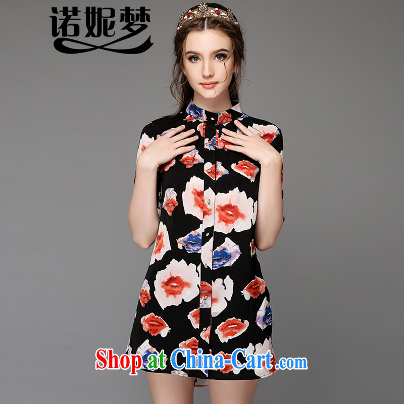Connie's dream high-end in Europe and America, the female summer is the increased emphasis on MM fashion, for his lips in stamp duty long shirt Jurchen silk frock G - Z 766 black XXXL