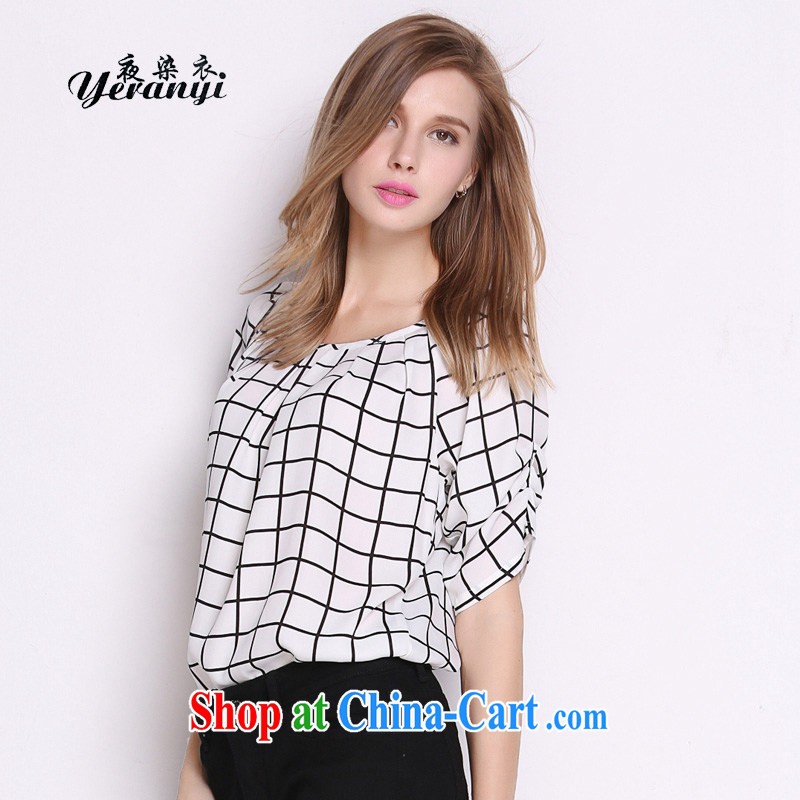 My dyeing Yi, female summer mm thick graphics thin, snow-woven shirts 26,593 white checkered XL _120 - 130 _ jack
