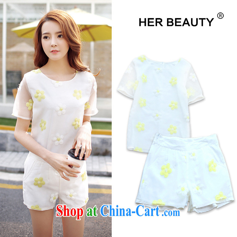 Hes American, female 2015 mm thick summer Korean version of the new, thick sister graphics thin European root yarn short-sleeved T-shirt shorts Kit 6189 white XL