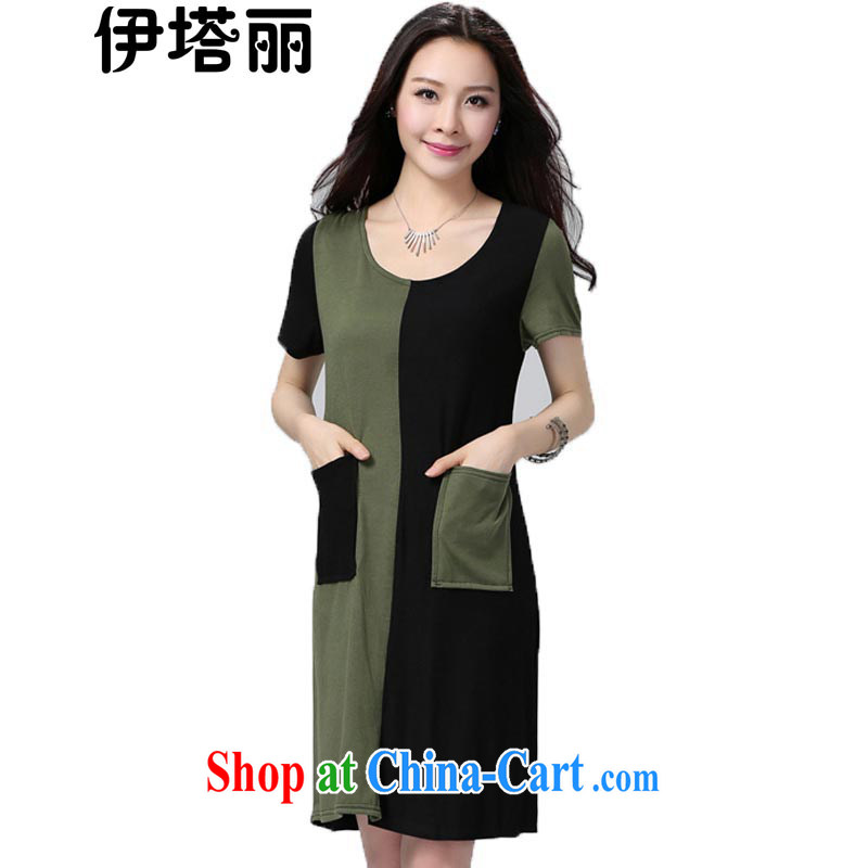 618 the urges the Taliban, summer 2015 new and indeed XL female graphics thin knitted dress mm thick, long, short-sleeved dresses black spell green 6 XL recommendations 200 - 230 jack
