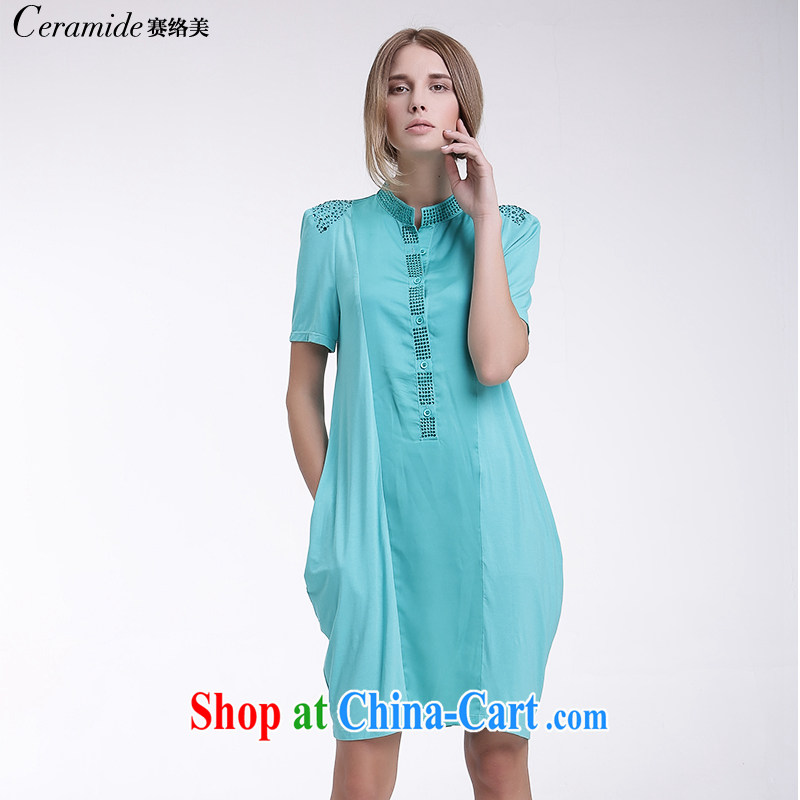 Race Contact Us 2015 summer new, larger ladies casual shirt skirt loose stamp short-sleeved Solid Color dress 651201103 blue 38