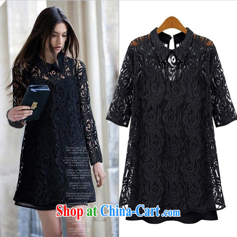 LACE dress summer dress for a dress code mm thick beauty two-piece black graphics thin European Summer black XL