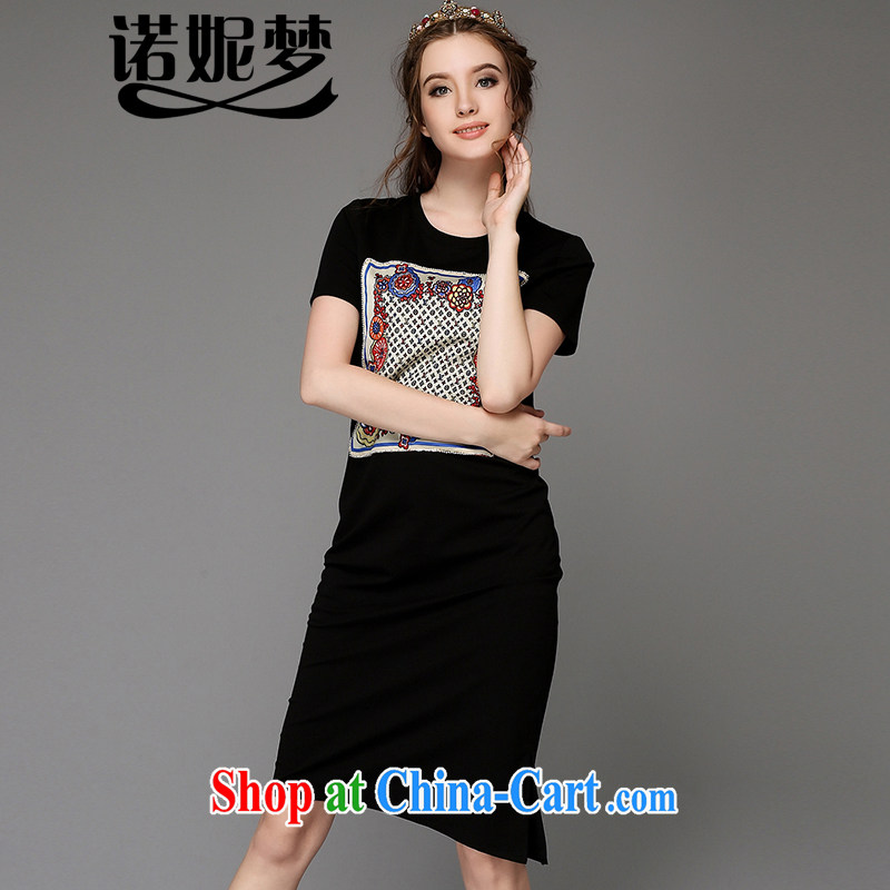Connie's dream high-end European and American 200 Jack larger female summer is the increased emphasis on sister new temperament stamp beauty graphics thin dress short-sleeved G - Z 771 black XXL