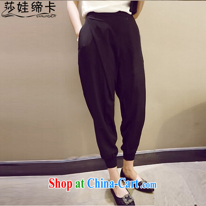 She concluded her card pants Children Summer 2015 new Europe mm thick larger female relaxed, casual pants graphics thin Tibetan meat pants black 3 XL
