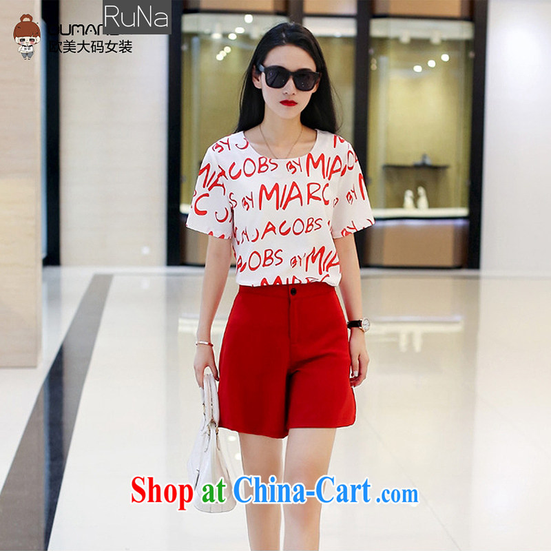 mm thick summer 2015 new larger female and indeed increase stamp duty T shirts stylish package shorts two piece + 1602 red XL - 115 - 128 jack