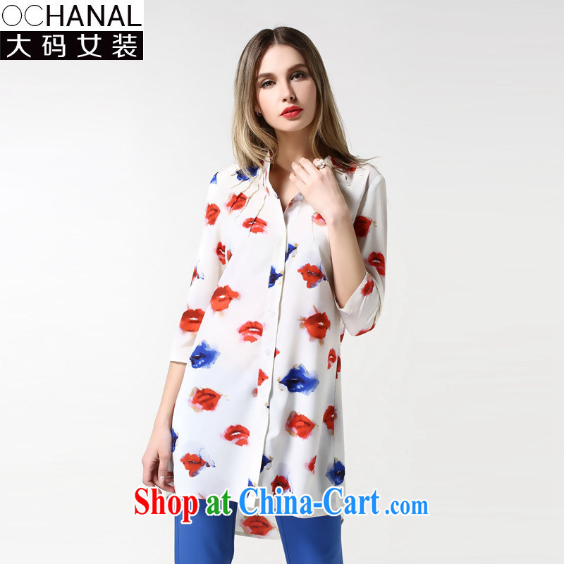 Europe is still the 2015 spring female large white cards in Europe red lips stamp long-sleeved T-shirt the code loose thick mm shirt, long picture color code