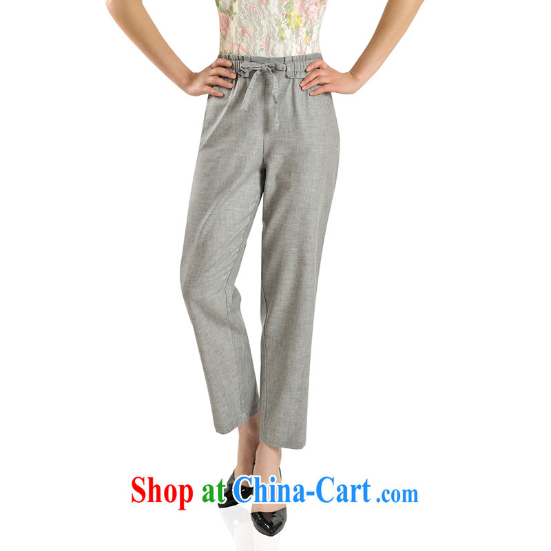 Putin's clone summer 2015 the fertilizer and linen 9 pants girl, the Code high-waist 9 pants middle-aged Elasticated waist pants LB - LXY - 9916 light gray 40