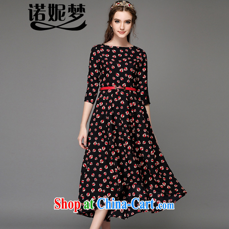 Connie's dream high-end European and American 200 Jack larger female summer and indeed increase collision color small cap stamp does not rule dresses the waist graphics thin G - Z 770 black XXXXXL