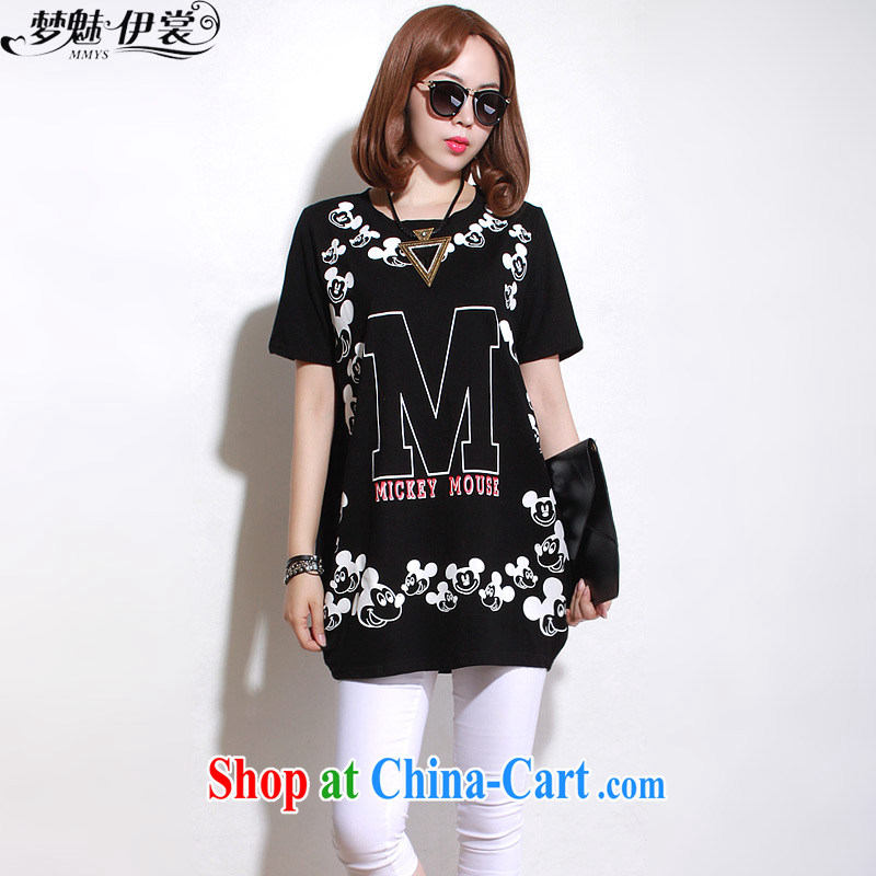 Director of the Advisory Committee summer Korean version loose video thin and thick XL female fat sister, long letters, short-sleeved T shirt T-shirt black loose all code