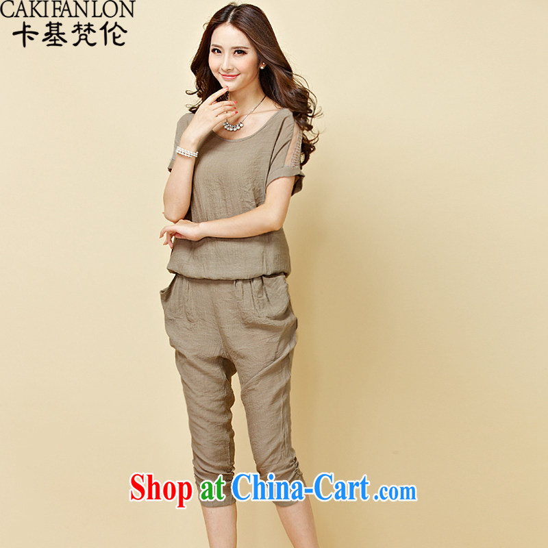 card-based Vincent van Gogh, 2015 new summer wear large, ladies stylish cotton Ma snow woven shirts, T-shirts, trousers two piece set with 8127 tea-colored XL