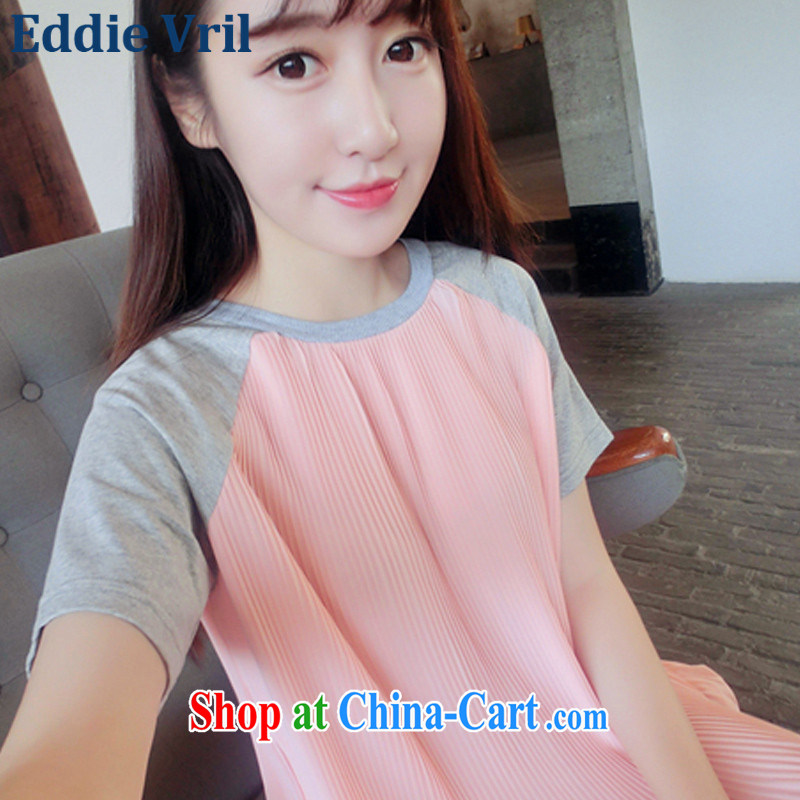 The EddieVril Code women summer 2015 new Korean version 100 hem snow woven stitching short sleeve loose doll dress pregnant women T-shirt dresses GH1 picture color code