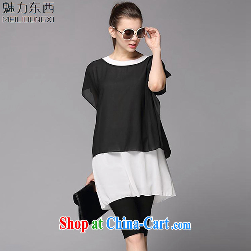 What charm larger female 2-piece kit 2015 summer new graphics thin T-shirt T-shirt V 233 black XL