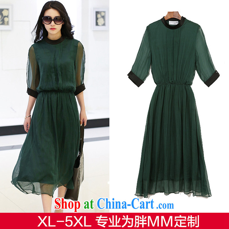 The European site 2015 larger female summer new thick mm fashion round collar silk graphics thin dresses + 1952 dark green 5 XL = 175 - 200 jack