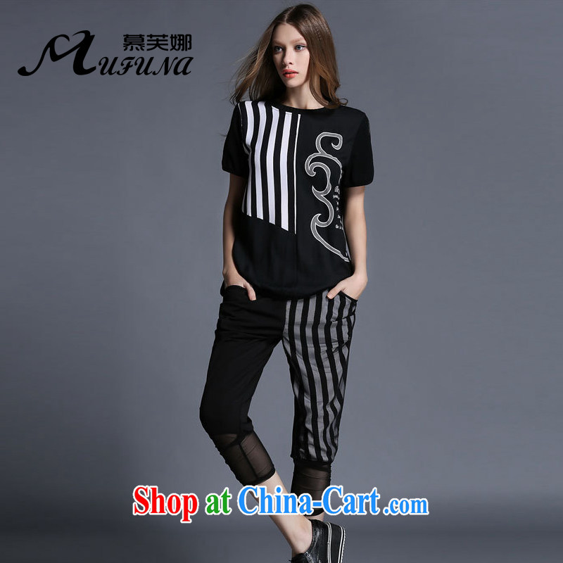 The summing up, 2015 thick sister larger female summer new, thick mm stripes lace stamp graphics thin cotton knit Sport Kit 1962 black XL