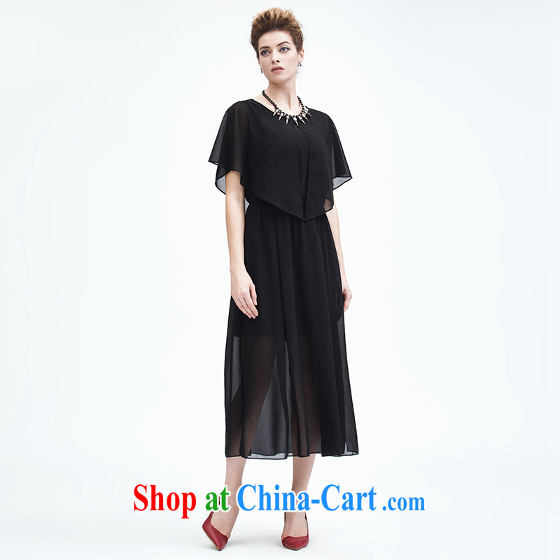 The Mak is the women's clothing 2015 summer new thick mm stylish snow woven fluoroscopy shawl dress 952103200 black 6 XL