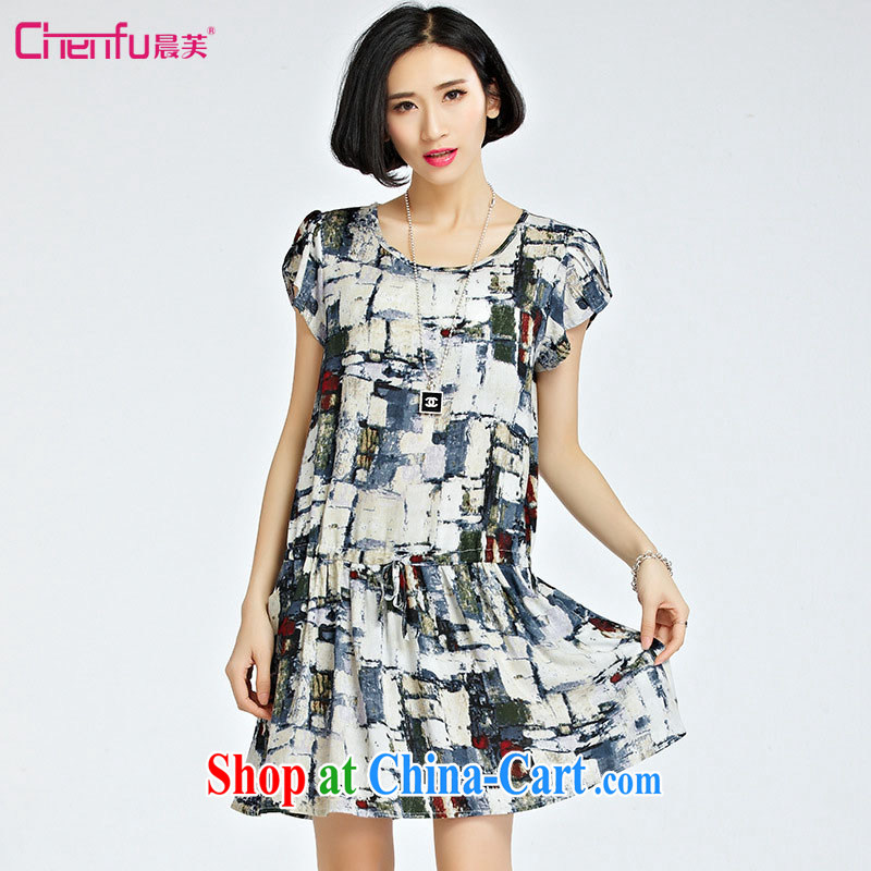 Morning would be 2015 summer new, indeed the XL women mm thick King, cultivating graphics thin knocked color and pattern of stamp duty with the waist dresses the color 5 XL