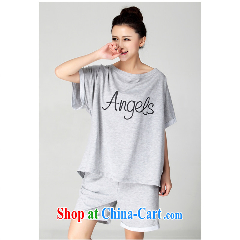 The package-XL extra large Code women new summer, loose shorts and stylish casual wear 2015 thick MM short-sleeved loose T shirts sportswear gray 6 XL