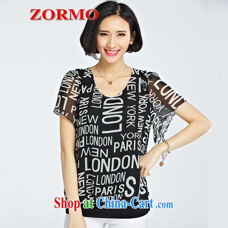 ZORMO 2015 summer new English take V collar short-sleeve shirt T girl thick mm and indeed XL solid shirt black 5 XL