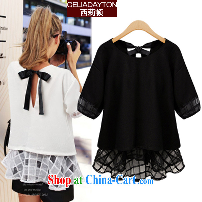 Cecilia Medina Quiroga and Macedonia is indeed increase code 200 jack, long leave of two part snow woven shirts female short-sleeved 2015 summer new thick mm sister European root yarn snow woven dresses black 5 XL