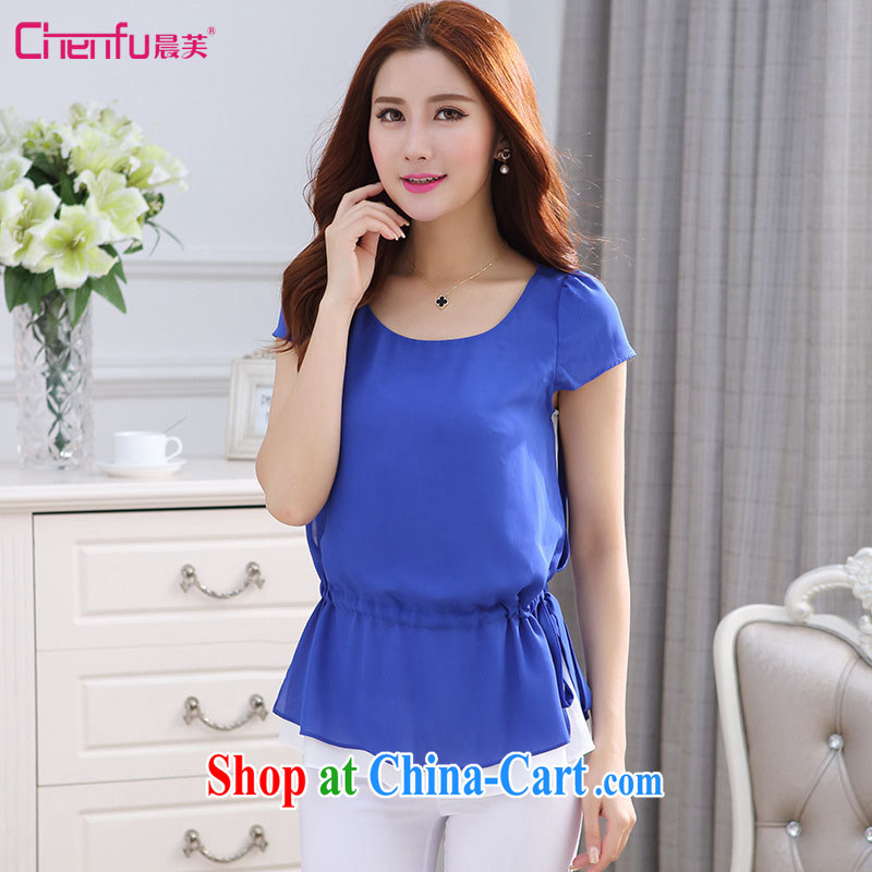 Morning would be 2015 summer new Korean version is indeed the XL female fat sister King, the waist hit color double snow woven shirts leave two T shirt T-shirt color blue 5 XL