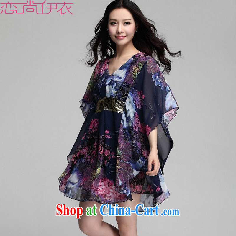 The payment is the XL 2015 new retro graphics thin loose fancy dress mm thick fake two-piece snow woven shirts bat sleeves loose shirt blue 4 XL approximately 160 - 200 jack
