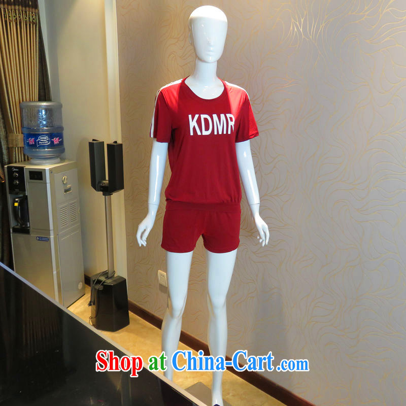 The sheep Yi Library 205 new summer a large number female female kit kit trousers stylish graphics thin Sports & Leisure ultra comfortable en-yi, female fashion Kit 1552 wine red XXXXL