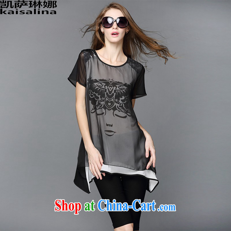 Catherine, summer 2015 new Europe 200 Jack mm thick larger female graphics thin stylish stamp short-sleeved snow woven shirts women 9088 picture color XL