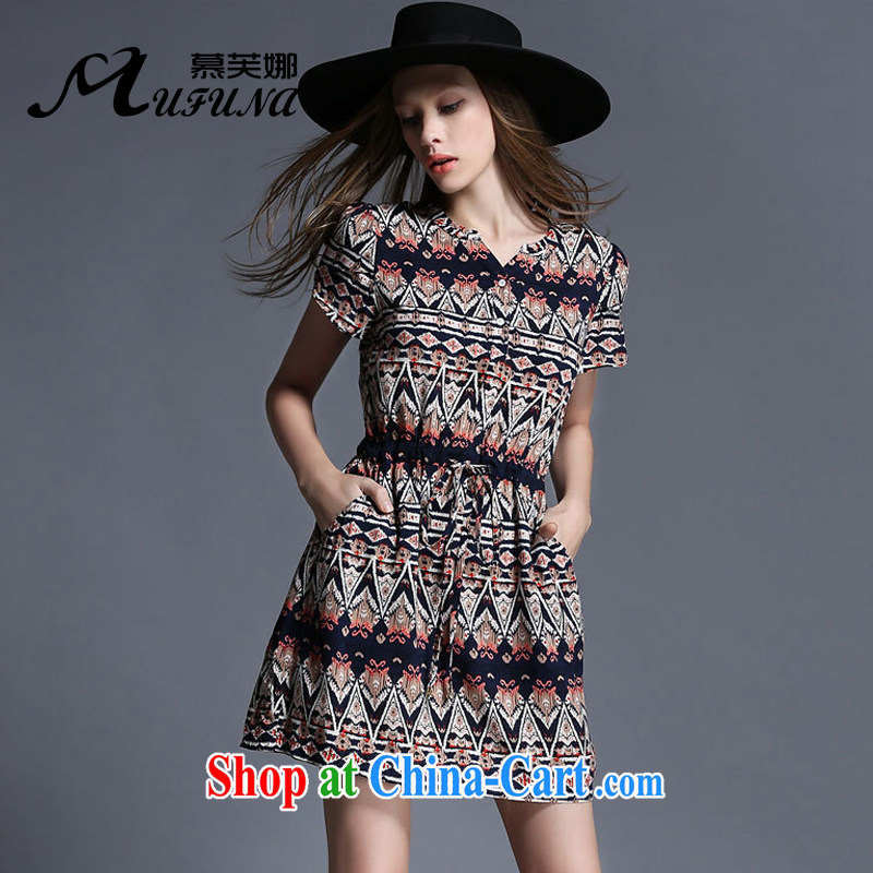 The summing up of the Code female summer is the increased emphasis on cultivating mm video thin Elasticated Lanyard stamp dress 1916 picture color XL