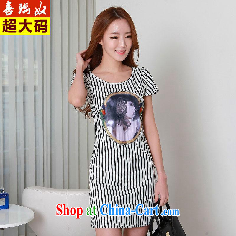 Hi Margaret slavery, long scoop neck short sleeved black and white striped beauty aura video thin package and dress code the dress Q 983,829 streaks the color code 3XL