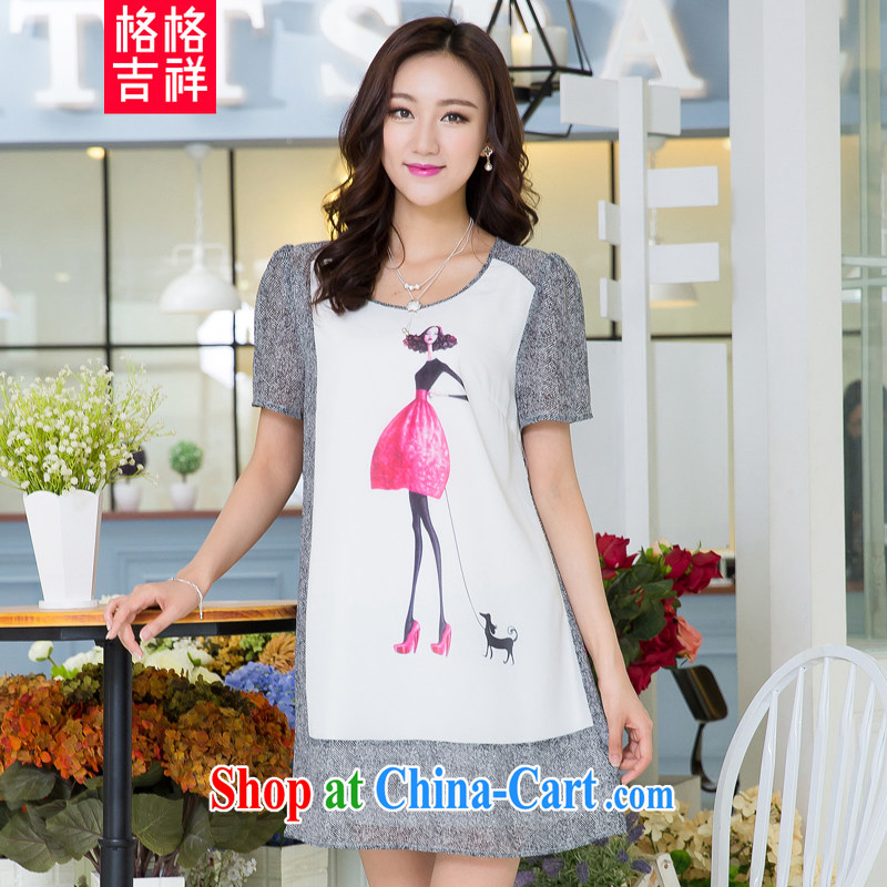 Huan Zhu Ge Ge Ge is the XL female summer new 2015 thick MM cultivating graphics thin knocked color stitching stamp snow woven short-sleeved dresses X 5516 gray 3 XL