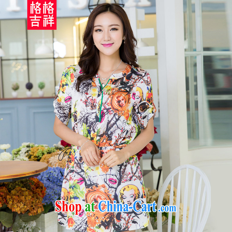 Huan Zhu Ge Ge Ge 2015 larger female summer new Korean version the FAT and FAT mm loose video thin casual stylish stamp short-sleeved dress suit 5506 3 XL